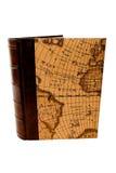Boek met kaart, geïsoleerdee, witte achtergrond Stock Afbeeldingen