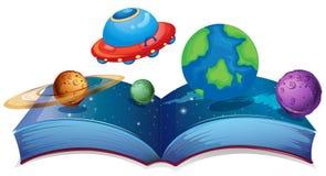 Boek met planeten en UFO vector illustratie