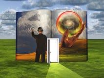 Boek met science fictionscène en open deur vector illustratie