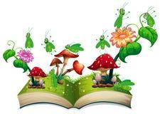 Boek met sprinkhaan en paddestoel stock illustratie