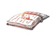 Boek, onderwijs die, persoon, concept lezen Hand getrokken geïsoleerde vector Royalty-vrije Stock Afbeeldingen
