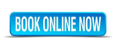 boek online nu blauwe vierkante knoop Stock Afbeelding