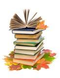 Boek op een stapel van boeken en esdoornbladeren Stock Foto's