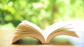 Boek` s pagina's die door wind draaien