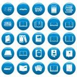 Boek vectorpictogrammen geplaatst blauwe, eenvoudige stijl Royalty-vrije Stock Foto's