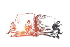 Boek, wereld die, dag, concept lezen Hand getrokken geïsoleerde vector Stock Afbeelding