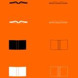 Boek zwart-wit vastgesteld pictogram Royalty-vrije Stock Afbeeldingen