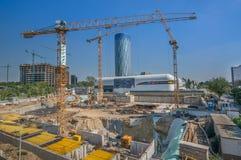 Boekarest, 19 Augustus, 2014 - bouwwerf dichtbij Skytower B Royalty-vrije Stock Afbeeldingen