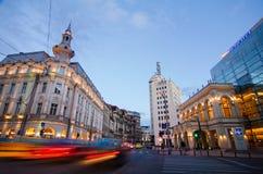 Boekarest bij zonsondergang royalty-vrije stock afbeelding