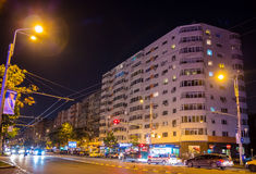 Boekarest in de nacht Royalty-vrije Stock Foto