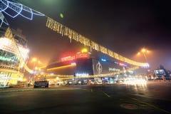 Boekarest de stad in - de verlichting van het Kerstmisthema royalty-vrije stock foto's