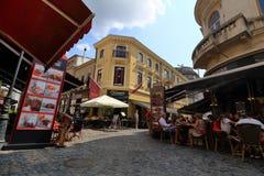 Boekarest - het dagleven in de oude stad stock foto