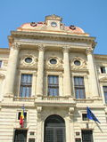 Boekarest - Ingang van National Bank van Roemenië royalty-vrije stock afbeeldingen