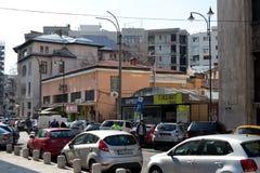 BOEKAREST - MAART 17: George Enescu-straat in de Foto van Boekarest op 17 Maart, 2018 wordt genomen die Stock Foto's