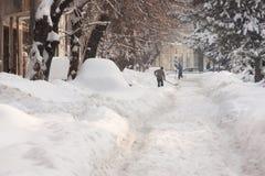 BOEKAREST ROEMENIË - 14 Februari: De anomalieën van het weer Stock Fotografie