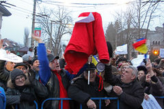 Boekarest, Roemenië - Protest tegen President Klaus Iohannis royalty-vrije stock afbeelding