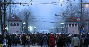 Boekarest, Roemenië - Protest tegen President Klaus Iohannis royalty-vrije stock afbeeldingen