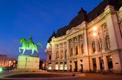 Boekarest 's nachts - Centrale Bibliotheek Stock Foto