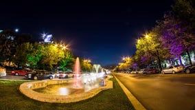 Boekarest timelapse, fonteinen van Unirii-Vierkant stock video