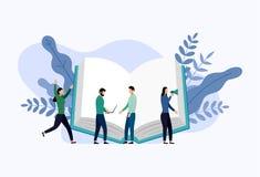 Boekbibliotheek of van het boekfestival de banner van het afficheconcept stock illustratie