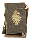 Boekdekking met gouden die decoratie op wit wordt geïsoleerd Antiquiteit obj stock fotografie