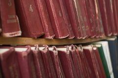 Boeken in bibliotheek. stock fotografie