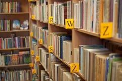 Boeken in bibliotheek Royalty-vrije Stock Foto