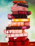 Boeken bij canvas het schilderen. Stock Afbeelding