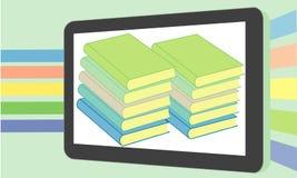 Boeken in blauw van het tablet het vlakke ontwerp Royalty-vrije Stock Foto's