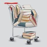 Boeken in boodschappenwagentje Stock Foto