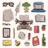 Boeken de vectorzaken van het schrijversbureau op schrijfmachine en de tekstschrijver op papier in de copywriting reeks van de no royalty-vrije illustratie