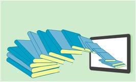 Boeken die in een tablet vliegen Royalty-vrije Stock Fotografie