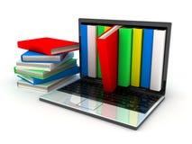 Boeken en computer Stock Afbeelding