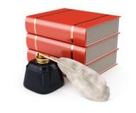 Boeken en het schrijven werktuigen Stock Afbeelding