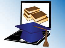 Boeken en Internet onderwijs Stock Afbeeldingen
