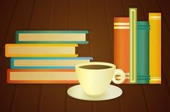 Boeken en kop van koffie op de lijst Stock Afbeeldingen