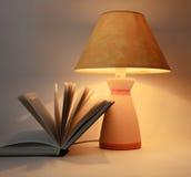 Boeken en lamp Stock Afbeeldingen