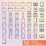 Boeken en perfecte oulinepictogrammen van het Blocnotepixel Royalty-vrije Stock Foto's