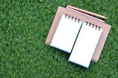 Boeken en potloden op het gazon Stock Foto