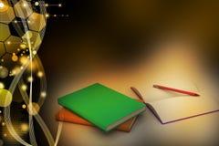 Boeken en potlood, onderwijsconcept Stock Fotografie