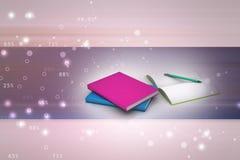 Boeken en potlood, onderwijsconcept Royalty-vrije Stock Foto