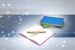 Boeken en potlood, onderwijsconcept Royalty-vrije Stock Afbeelding