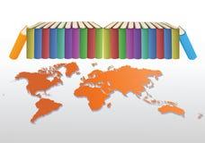 Boeken en wereld vector illustratie