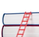 Boeken met een rode ladder Stock Foto's