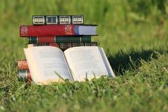 Boeken op gras Royalty-vrije Stock Foto
