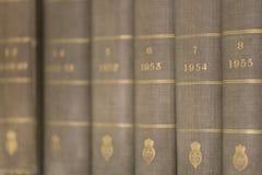 Boeken op plankenmacro Royalty-vrije Stock Foto