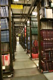 Boeken in universitaire bibliotheek Royalty-vrije Stock Foto's