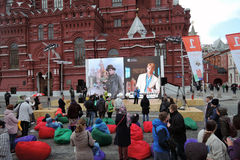 Boekenbeurs op Rood Vierkant in Moskou royalty-vrije stock foto's