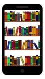 Boekenbibliotheek op het smartphonescherm Royalty-vrije Stock Afbeeldingen
