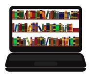 Boekenbibliotheek op laptop het scherm Royalty-vrije Stock Foto's